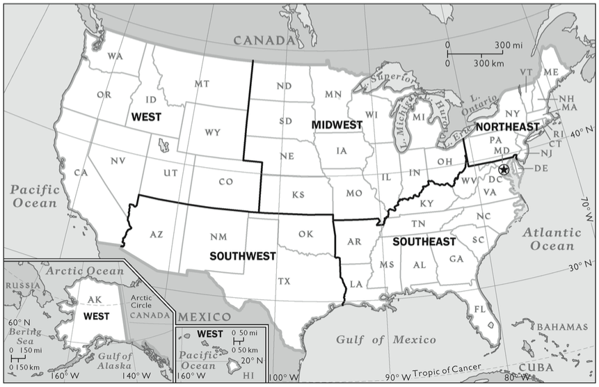 united-states-regions-map - Best Colleges Online